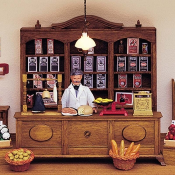 Shop counter with glass and wood front