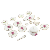 Dinner service, rose décor, 17 pcs