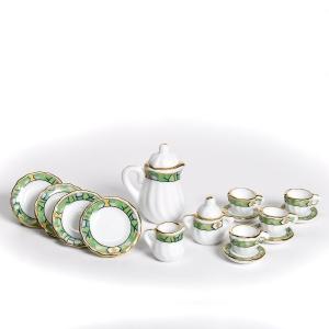 Kaffee-Service, hellgrünes Band