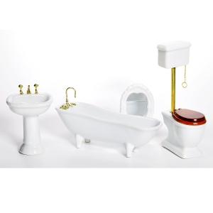 Badezimmer, weiß, Porzellan, mit hohem Spülkasten