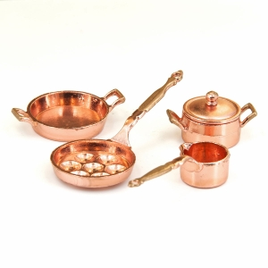 Cooking pots and frying pan, copper-plated, 4 pcs