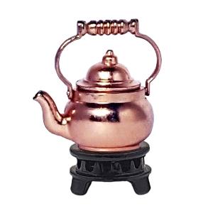 Teekessel, verkupfert, mit Stövchen