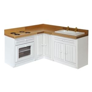 Küchenzeile, weiß, 3-teilig