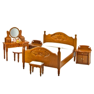Bedroom, walnut (6 pcs.) with miniatures