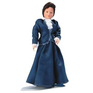Junge Frau im blauen Taftkleid