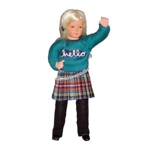 """Mädchen im grünen Sweater """"Hello"""""""